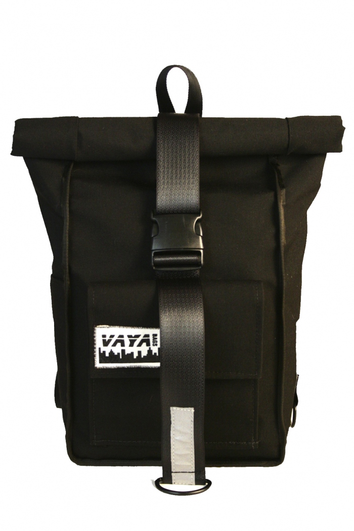 fd0e3c7c12b8 Black Simple Rolltop Backpack - Vaya Bags