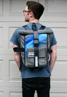Canvas Striped Pannier Pannier/ Backpack